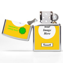 Lime Green Flower Ribbon by Kenneth Yoncich Zippo Lighter