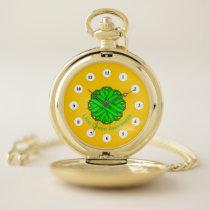 Lime Green Flower Ribbon (Cf) by K Yoncich Pocket Watch
