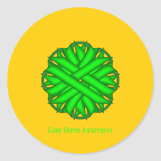 Lime Green Flower Ribbon Classic Round Sticker