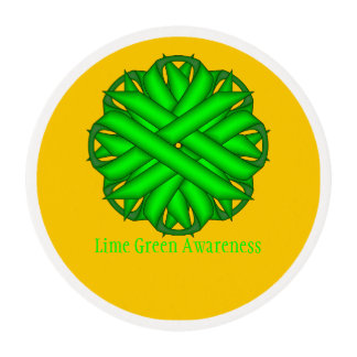 Lime Green Flower Ribbon Edible Frosting Rounds