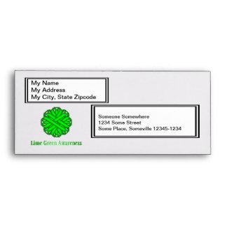 Lime Green Flower Ribbon Envelopes