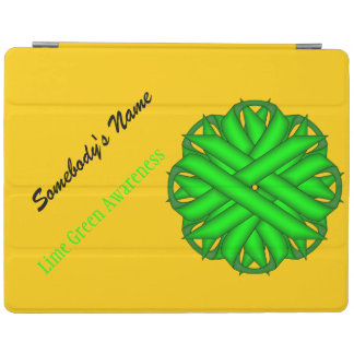 Lime Green Flower Ribbon iPad Cover