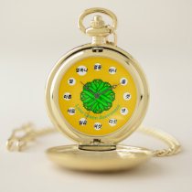 Lime Green Flower Ribbon (Kf) by K Yoncich Pocket Watch