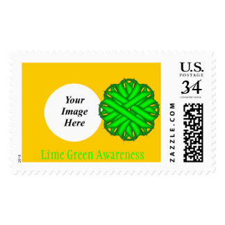 Lime Green Flower Ribbon Postage