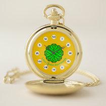 Lime Green Flower Ribbon (Rf) by K Yoncich Pocket Watch