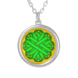 Lime Green Flower Ribbon Round Pendant Necklace