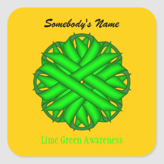 Lime Green Flower Ribbon Square Sticker