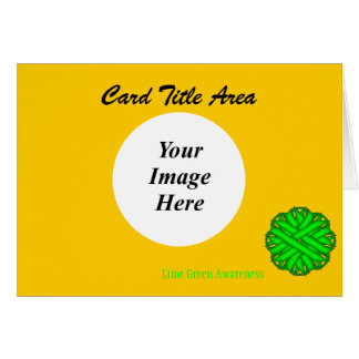 Lime Green Flower Ribbon Template Card