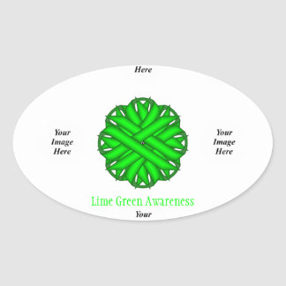 Lime Green Flower Ribbon Template Oval Sticker