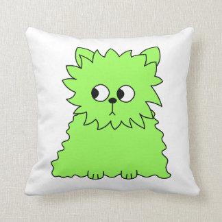 Lime Green Fluffy Cat Throw Pillows