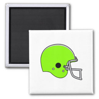 Lime Green Football Helmet 2 Inch Square Magnet