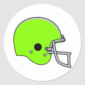 Lime Green Football Helmet Classic Round Sticker