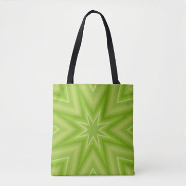 Beach Themed Lime Green Fractal Star Tote