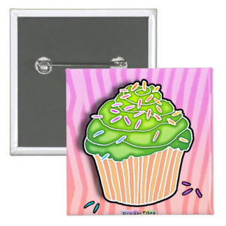 Lime Green Frosted CUPCAKE BUTTON
