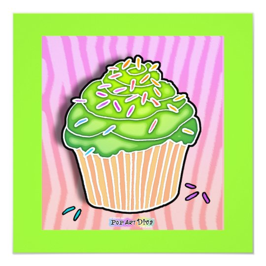 Lime Green Frosted CUPCAKE INVITATION