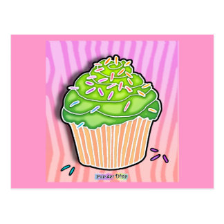 Lime Green Frosted CUPCAKE POSTCARD