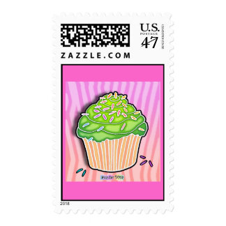Lime Green Frosted Pink CUPCAKE POSTAGE