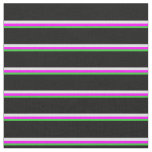 [ Thumbnail: Lime Green, Fuchsia, Lavender, and Black Lines Fabric ]