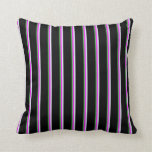 [ Thumbnail: Lime Green, Fuchsia, Lavender, and Black Lines Throw Pillow ]