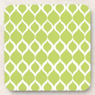 Lime Green Geometric Ikat Tribal Print Pattern Coaster