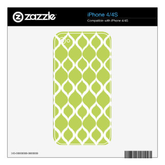 Lime Green Geometric Ikat Tribal Print Pattern Decals For The iPhone 4S