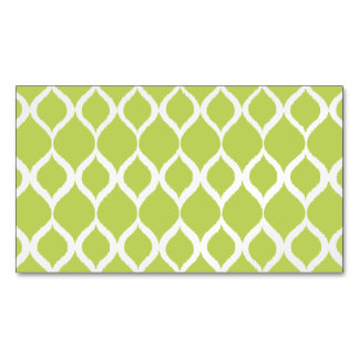 Lime Green Geometric Ikat Tribal Print Pattern Magnetic Business Card