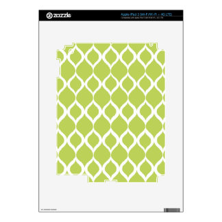 Lime Green Geometric Ikat Tribal Print Pattern Skins For iPad 3