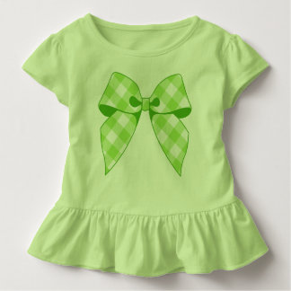 Lime Green Gingham Bow Key Lime Toddler Ruffle Tee