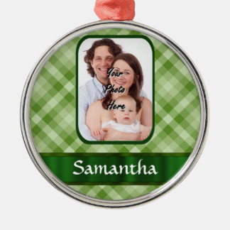 Lime green gingham metal ornament
