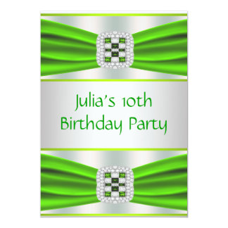 Lime Green Girls10th Birthday Party 5x7 Paper Invitation Card