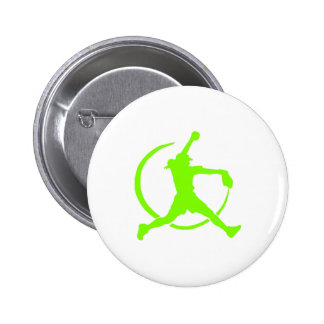 "Lime Green Girl's""FAST PITCH SOFTBALL"" image 2 Inch Round Button"