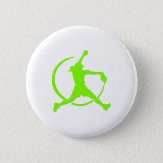 """Lime Green Girl's""""FAST PITCH SOFTBALL"""" image Pinback Button"""