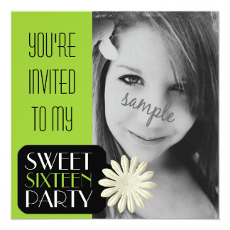 Lime Green Girl's Sweet 16 Party with Photo Card