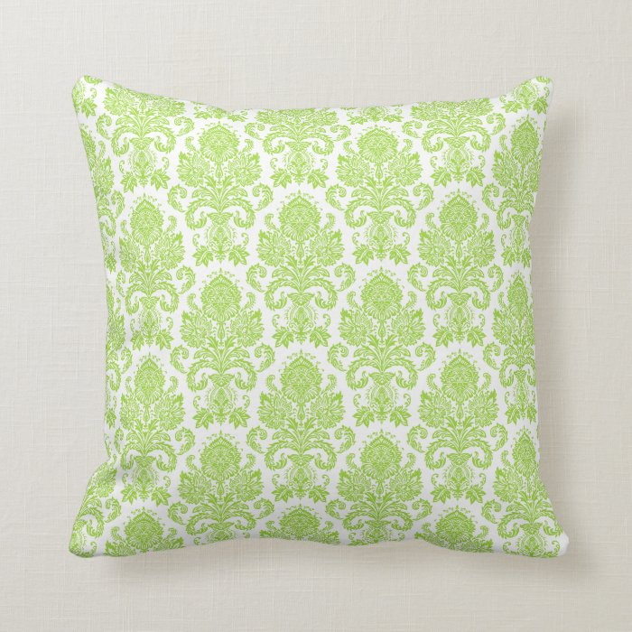 Lime Green Girly Damask Throw Pillow