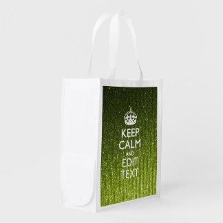 Lime Green Glamour Keep Calm Saying Grocery Bag