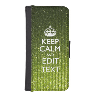 Lime Green Glamour Keep Calm Saying iPhone SE/5/5s Wallet Case