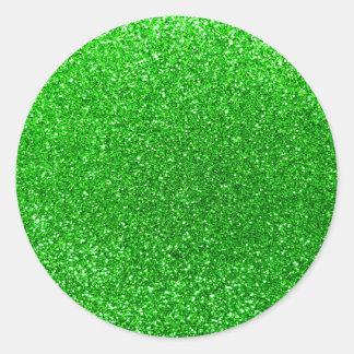 Lime green glitter classic round sticker