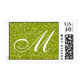 Lime Green Glitter  Custom Monogram Postage