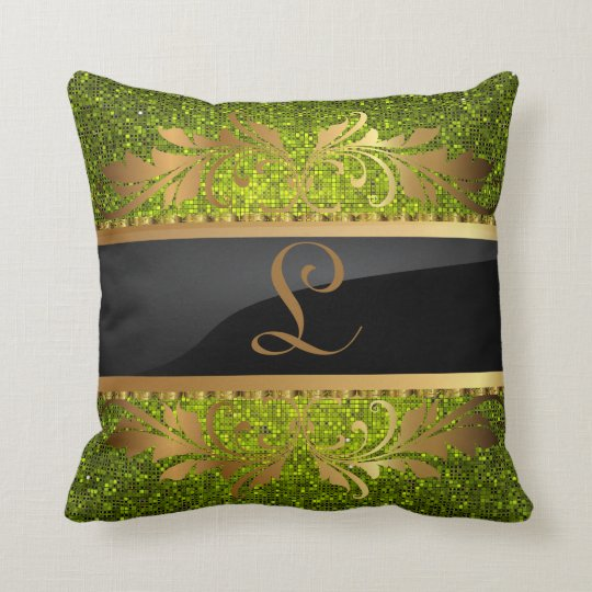 Lime Green Glitter Sequin Disco Couch Throw Pillow