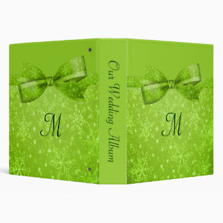 Lime Green & Glitter Shimmer Snowflakes 3 Ring Binders