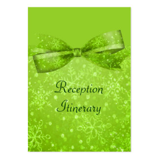 Lime Green Glitter Shimmer Snowflakes Business Card