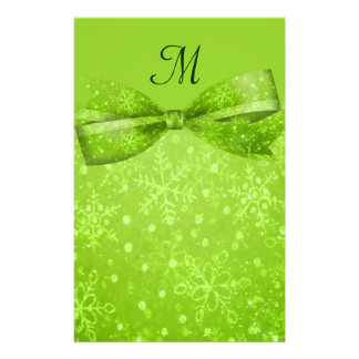 Lime Green & Glitter Shimmer Snowflakes Stationery