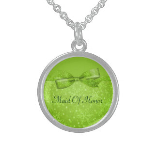 Lime Green & Glitter Shimmer Snowflakes Sterling Silver Necklace