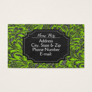 Professional Business Lime Green Glitter Swirl Chalkboard Business Cards