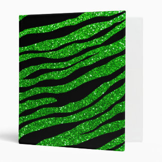 Lime green glitter tiger stripes 3 ring binder