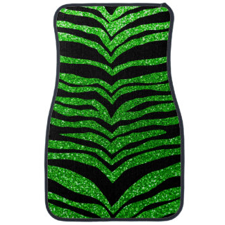 Lime green glitter tiger stripes car mat