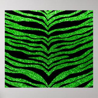 Lime green glitter tiger stripes print