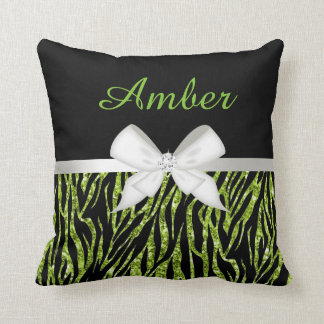 Lime Green Glitter Zebra Print and Ribbon Throw Pillow