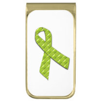Lime Green Gold Finish Money Clip