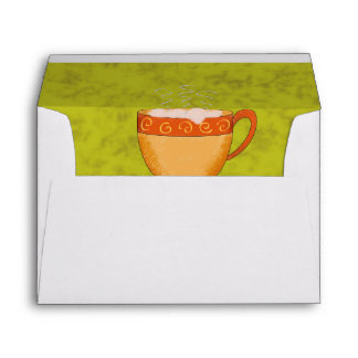 Lime Green, Gold & Orange Coffee Cup Customizable Envelope